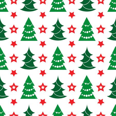 christmas tree illustration: Holidays seamless pattern with Christmas tree and stars, vector illustration