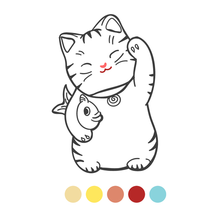 Coloring page for kids with colors sample. Vector illustration of cute kitten with fish Illustration