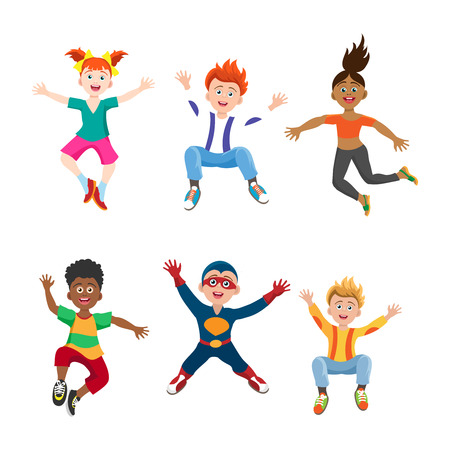 Happy jumping girls and boys isolated on white background, vector illustration Illustration
