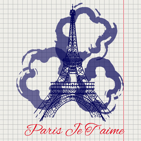 ballpen: I love you Paris sketch on notebook page with Eiffel tower and abstract flowers. Vector illustration