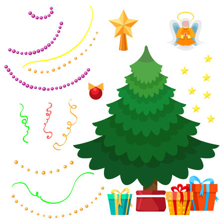christmas tree illustration: Dress up Christmas tree set with decorations and fir. Vector illustration