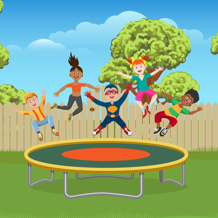 Energetic and happy kids jumping on trampoline in the garden, vector ilustration