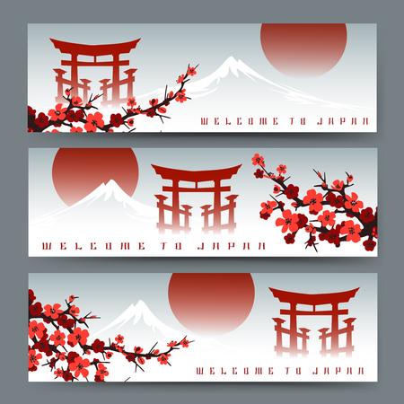 Horizontal banners with blossoming sakura, fuji mountain and japan torii door or asian art cards with chinese gate vector illustration. Illusztráció