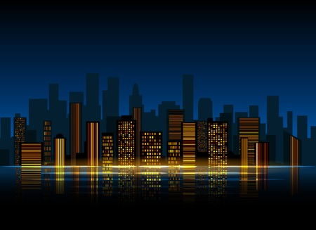 down town: Night city background. Urban town streets skyline. Cityscape vector silhouettes. Illustration