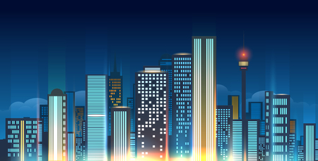 Night city skyline vector illustration. Glowing urban horizon like Beijing or Moscow