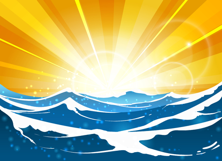 Shiny sun seascape vector illustration. Cartoon sunrise or sunrise at sea for travel posters and summer banners