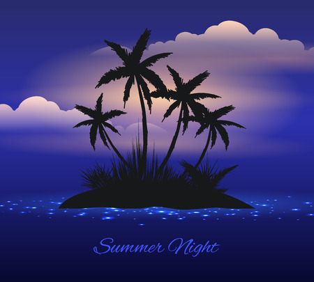 Summer night. Tropical island with palm trees. Illustration