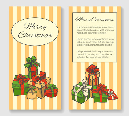 ball and chain: Merry Christmas greeting card. Gift boxes. Hand drawn style.