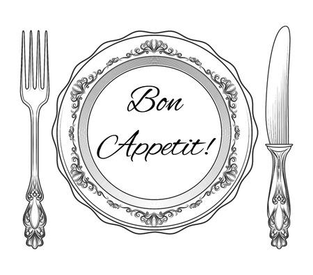 ボナペティ。プレートのフォークとナイフ。