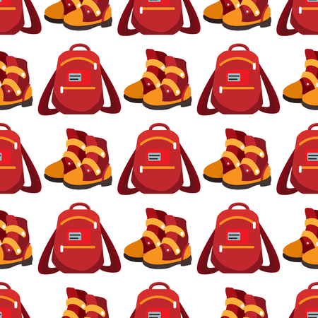 Popular youth accessories, bright backpack and boots seamless pattern