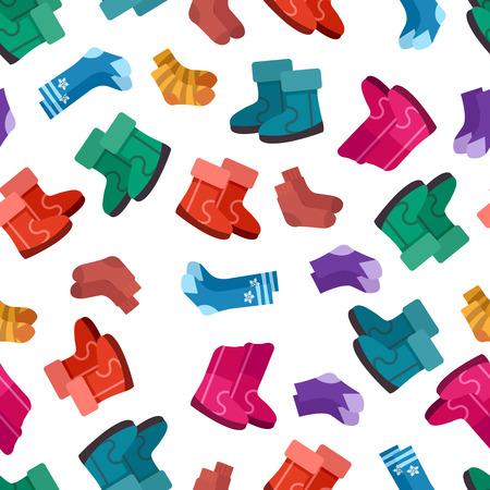 Uggs and socks seamless pattern design illustration.
