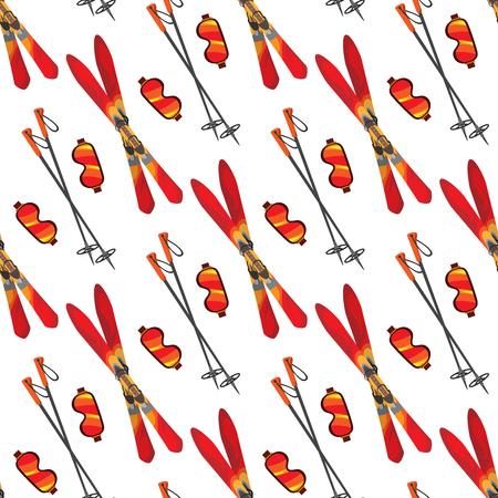 Skiing seamless pattern. Vector winter sport equipment seamless texture Illustration