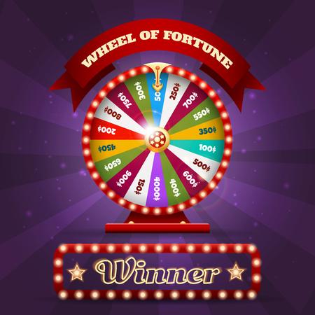Casino spinning luck wheel or turning fortune roulette for money games entertainment, vector illustration