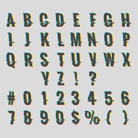 Vintage digital glitch alphabet. Retro font distortion effect vector illustration Illustration