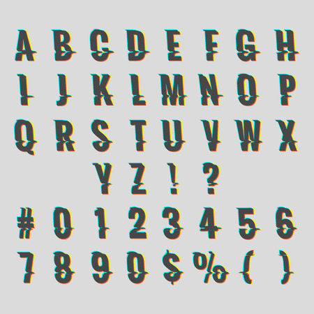 Vintage digital glitch alphabet. Retro font distortion effect vector illustration Illusztráció