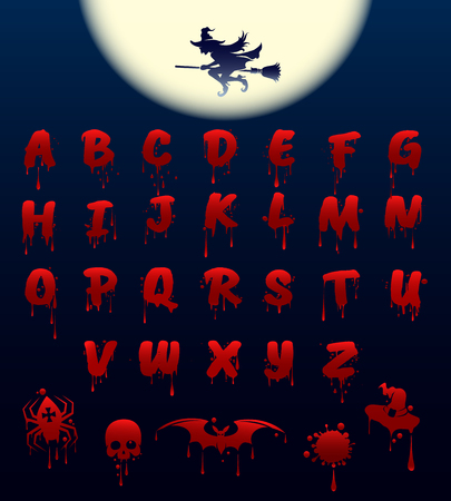 Bloody alphabet on black background. Halloween spooky font, vector illustration