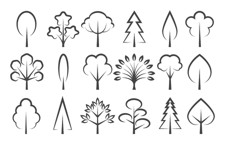 Vector tree icon illustration. Trees linear icons, plant sign silhouettes isolated on white background for eco logo or landscape design