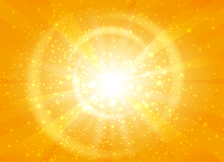 Yellow starburst background with sparkles. Shiny sun rays vector illustration with bokeh lights