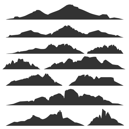 Mountain silhouettes overlook. Vector rocky hills terrain vector, mountains silhouette set isolated on white background for landscape design  イラスト・ベクター素材