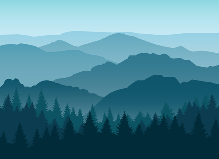 Vector misty or smokey blue mountain silhouettes background. Morning layered mountains with mist