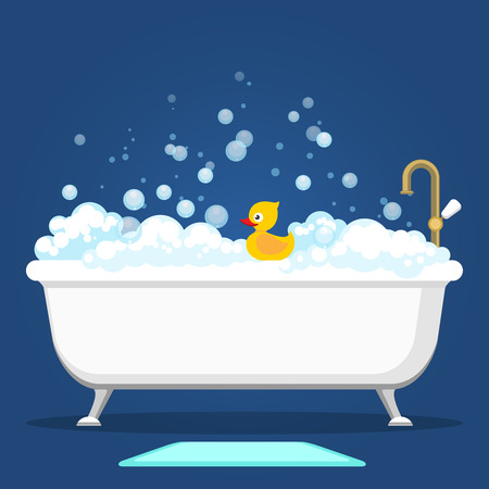 Bathtub vector illustration. Relax bathroom interior with vintage bath and soap foam bubbles