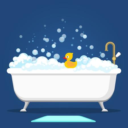Badkuip vector illustratie. Ontspan badkamersbinnenland met uitstekende bad en zeepschuimbellen