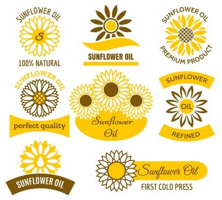 Sunflower oil logo set. Vector sunflowers sun field plants labels and emblems set 向量圖像