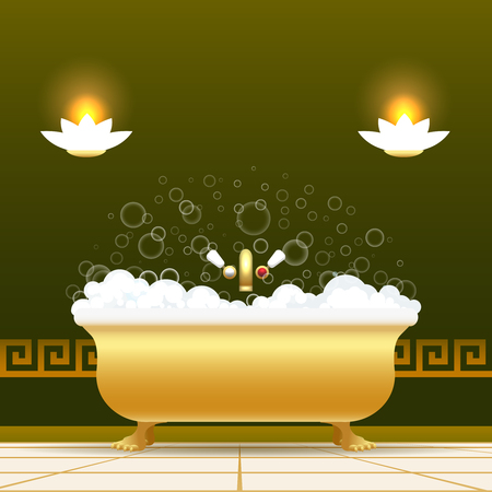 Golden bathtub vector illustration. Bath tub with water and lather soapsuds isolated on green background