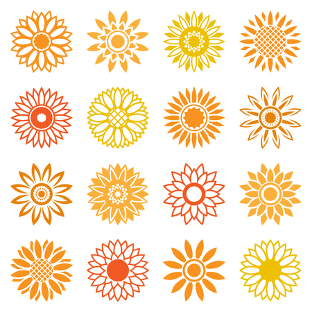 Vector sunflower icons isolated leaf isolated on white background. Midsummer plants signs for logo and labels