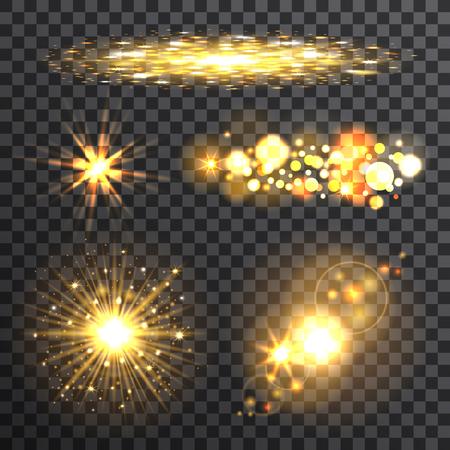 Set of gold flash stars on the transparent background, vector illustration