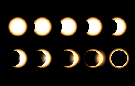 Solar eclipse different phases vector illustration. Full moon eclipse sun with orange sunshine