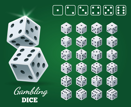 Gambling dice set on green background. White cubes with black pips on Casino game back, vector illustration Illustration