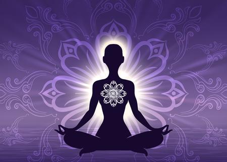 Silueta de mujer de meditación yoga sobre fondo violeta amanecer, ilustración vectorial
