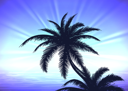 Silhouette of palm tree on the blue gradient sunrise background Illustration