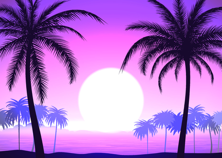 Silhouette of palm trees on the pink gradient tropical sunrise, vector illustration
