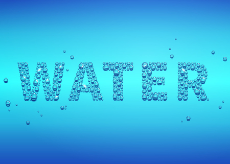 Blue drops of water background, lettering vector illustration