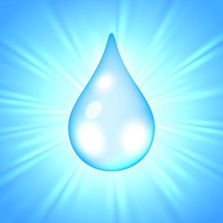 Drop of water on the sunburst background, vector illustration