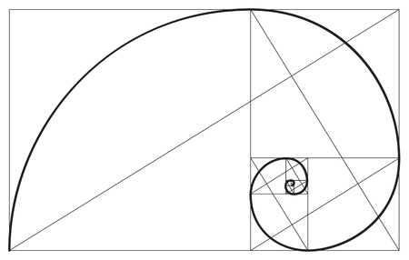 Vector golden ratio. Fibonacci ideal proportion sections, divinity and eternity spiral symbol Vettoriali