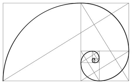 Ratio d'or de vecteur. Fibonacci proportion idéale sections, divinité et éternité symbole de la spirale