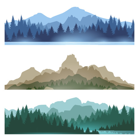 Mistige bergen landschap ingesteld vectorillustratie. Smokey rotsachtig panorama met bergenhorizon en bos silhouetten van de pijnboomboom