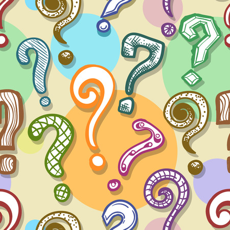 Question mark background. Vector colored questions seamless pattern in sketch style Illustration