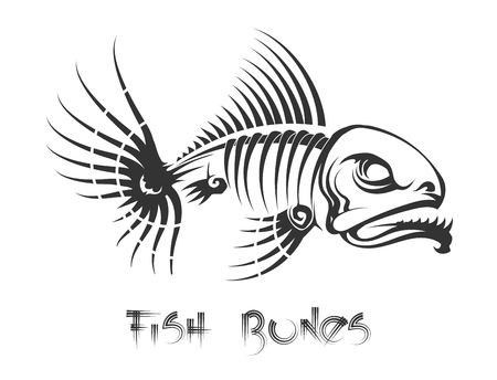 Fish bones tattoo. Aggressive toothy fish leftovers vector illustration Çizim