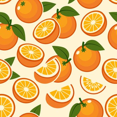 Orange fruit pattern. Sweet sweet vintage beautiful citrus seamless background with yellow juicy oranges vector illustration Иллюстрация