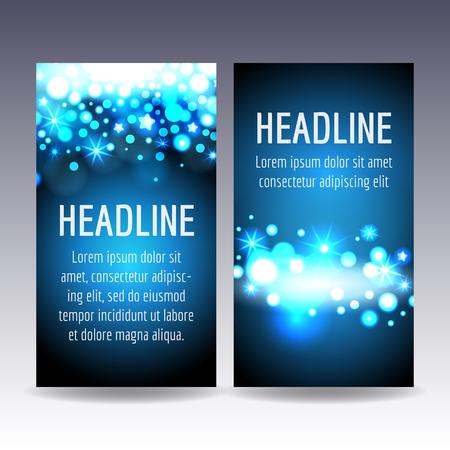 青の色ベクトル テンプレートでボケ ライト フライヤー カード  イラスト・ベクター素材