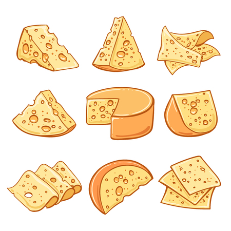 Set of hand drawn cheese isolated on white background. Иллюстрация