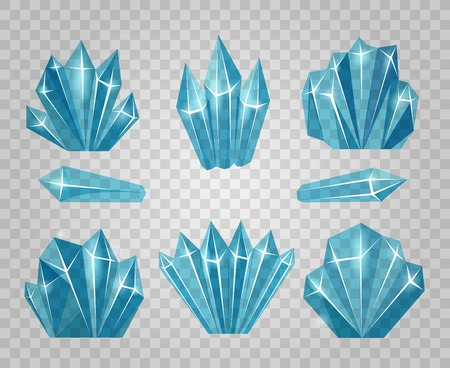 Ice crystals. Icy water cubes isolated on transparent background and icicle cold blocks vector illustration Vettoriali