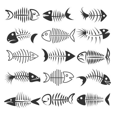 Fish bones isolated on white background. Fishbone silhouettes vector illustration Vektorové ilustrace