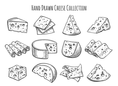 Set di schizzo di formaggio Accumulazione di doodle di vettore di pezzi di formaggio e fette
