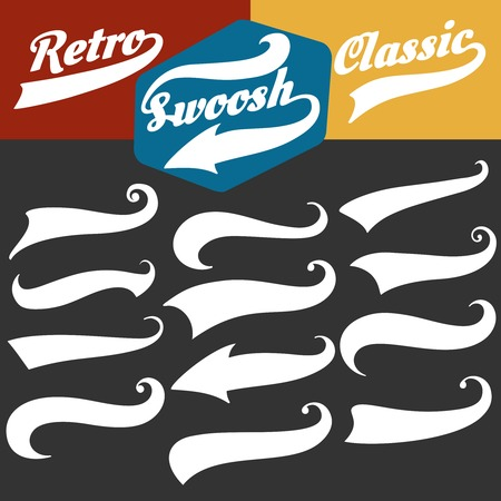 Swoosh tails. Retro sports swash decorative elements for baseball or strike banners and tshirts vector set Illustration