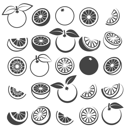 Orange icons. Tasty fresh vector black oranges fruits isolated on white background, citrus wedge, half and slices silhouette set